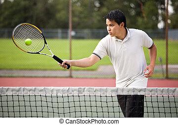 joueur, tennis, asiatique
