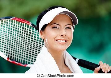 joueur, tennis, haut, femme, fin
