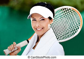 joueur, tennis, haut fin