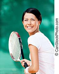 joueur, tennis, joli, portrait