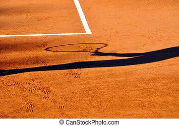joueur tennis, ombre, sur, a, argile, court tennis