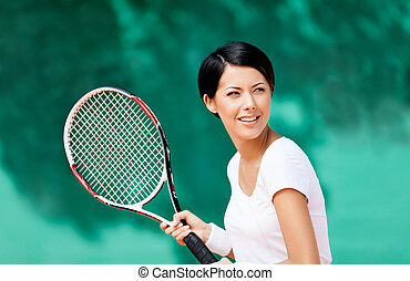 joueur, tennis, portrait