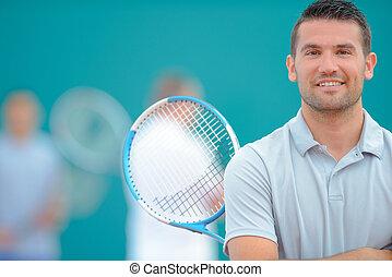 joueur,  tennis, poser
