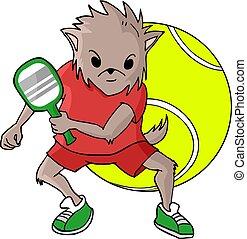 joueur, tennis, renard