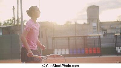 joueur tennis, tribunal, mouvement, balle, femme, soleil, ...