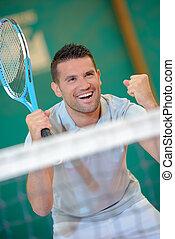 joueur, tennis, victoire, geste, confection