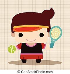 joueur, thème, badminton, éléments