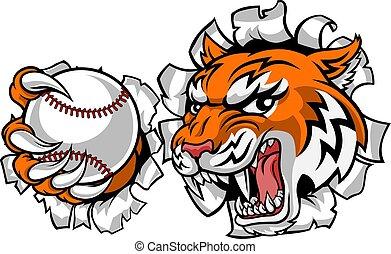 joueur, tigre, sports, animal, tennis, mascotte