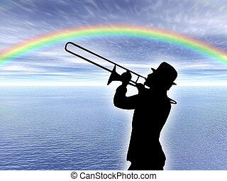 joueur, trompette, rai
