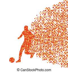 joueur, vecteur, explosion, fond, isolé, fait, points, gagnant, football, fragments, concept