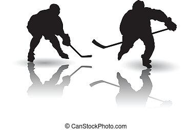 joueur, vecteur, hockey, glace