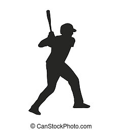 joueur, vecteur, silhouette, base-ball