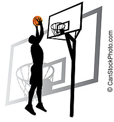 joueur, vecteur, silhouette, basket-ball