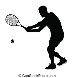 joueur, vecteur,  silhouette,  tennis