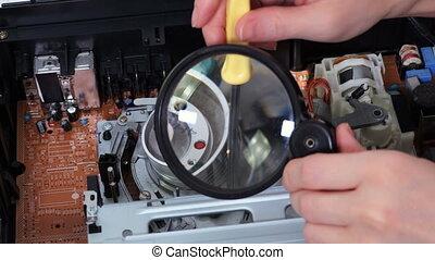 joueur, verre, magnétoscope, femme, magnifier, utilisation