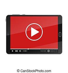 joueur, vidéo, screen., pc tablette