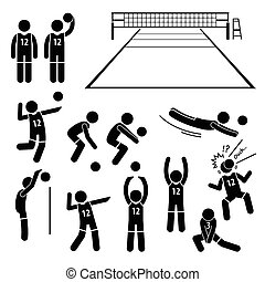 joueur, volley-ball, actions