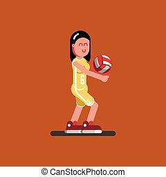 joueur, volley-ball, femme