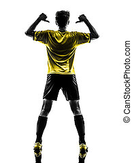 joueur, vue, silhouette, fond, football, jeune homme, portrait, blanc, football, pointage, studio, brésilien, une, arrière