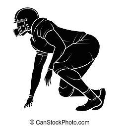 joueurs, américain, vecteur, football, silhouette.