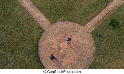 joueurs base-ball, élevé, allumette, pendant, angle, vue