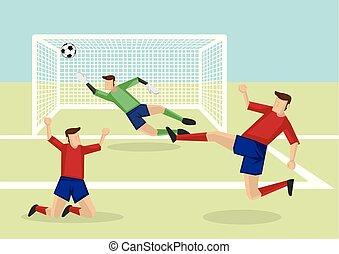 joueurs, but, football, points, victoire, illustration, vecteur, dessin animé