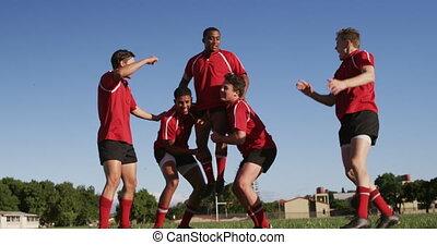 joueurs, champ rugby, célébrer