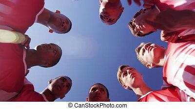 joueurs, champ rugby, réuni