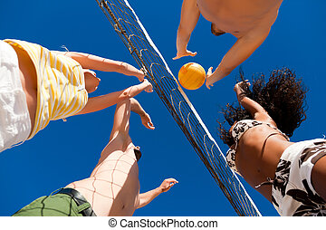 joueurs, filet, plage, -, volley-ball