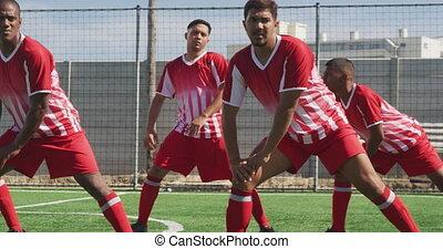 joueurs football, champ, étirage