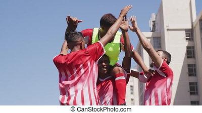 joueurs football, champ, célébrer