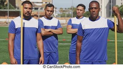 joueurs football, champ, debout