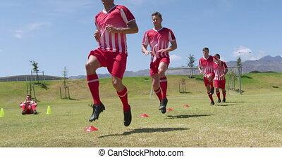 joueurs football, champ, exercisme