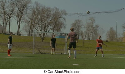 joueurs, football football, pratiquer, pas