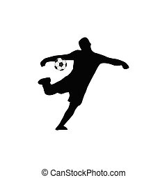 joueurs, football, silhouettes