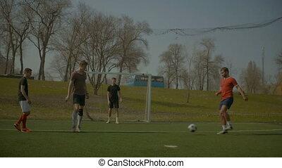 joueurs, formation, football, hauteur football