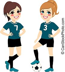 joueurs, girl, football