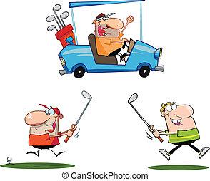 joueurs golf, ensemble, collection, heureux