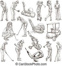 joueurs golf, golf, -, main, dessiné, meute