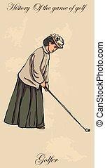 joueurs golf, golf, vendange, -, vecteur, freehand