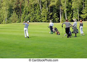 joueurs golf, groupe, tournoi