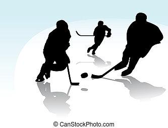 joueurs, hockey, glace