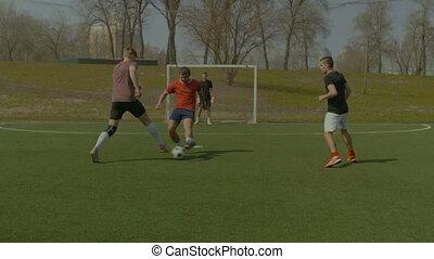 joueurs, jeune, fôlatre champ, action, football