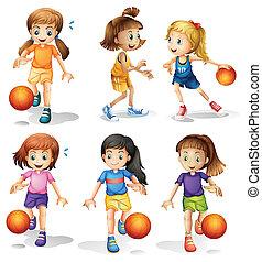 joueurs, peu, basket-ball, femme