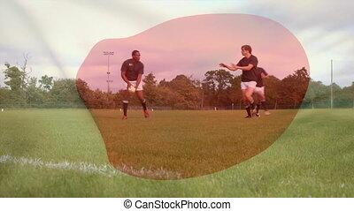 joueurs rugby, balle, dépassement