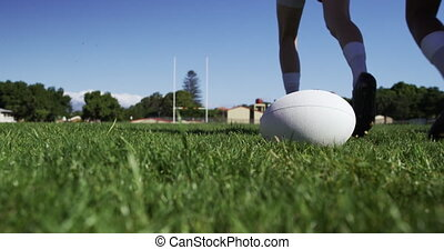 joueurs, rugby, formation, champ