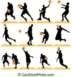 joueurs, silhouettes, basket-ball, ensemble