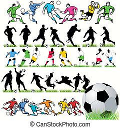 joueurs, silhouettes, football, ensemble, 34