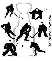 joueurs, silhouettes, hockey