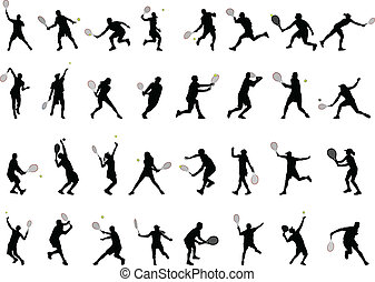 joueurs, silhouettes, tennis